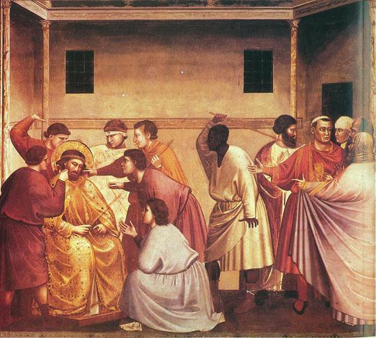 Пилат отдает Иисуса на бичевание. Джотто ди Бондоне