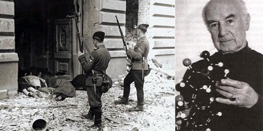 Слева украинские хлопчики на службе СС проводят зачистку в Варшавском гетто. Справа - Альберт Хофманн, держит в руках молекулярную модель ЛСД. Тут он уже стар. А в день восстания был еще совсем молодым человеком