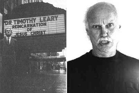 Нью-Йоркский театр Виллидж. Тимоти Лири как новое воплощение Иисуса Христа, октябрь 1966 года. Справа - Рам Дасс