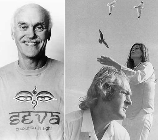 Слева Рам Дасс. Справа Тимоти Лири и его жена Розмари Вудрафф. 1968 год