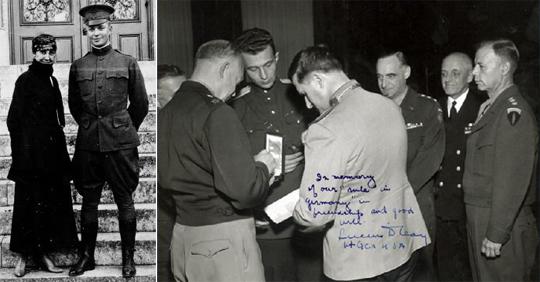 Слева молодой Дуайт Эйзенхауэр с женой Марией. Справа генерал армии Эйзенхауэр вручает орден Легион Почета генералу армии Соколовскому