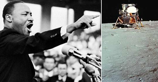 Слева Мартин Лютер Кинг, говорит: I have dream... Справа американский пилотируемый аппарат на Луне