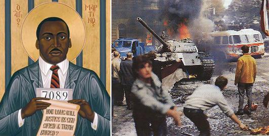 Справа август 1968 года на улицах Праги. Слева икона, изображающая Мартина Лютера Кинга, написанная в православном духе братом Робертом Ленцем, монахом-францисканцем, служащим по византийскому обряду в католической церкви Всех Святых в Хьюстоне