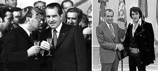 Ричард Никсон принимает поцелуй Леонида Брежнева и ручкается с Элвисом Пресли