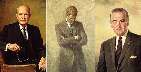 Слева направо: Дуайт Эйзенхауэр (1953-60), Джон Фицджеральд Кеннеди, (1961-63, убит в Далласе), Линдон Джонсон (1963-68)