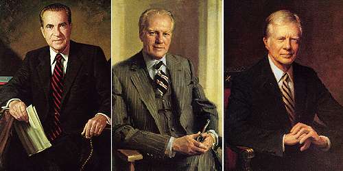 Слева направо: Ричард Никсон (1969-74), Джеральд Форд, (1974-77), Джимми Картер, (1977-81)