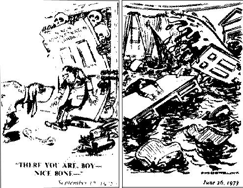 Иллюстрации из книги Психоистория ллойда де Моза. Иллюстрация 1. Трещина, 17 сентября 1972 года. Иллюстрация 2. Коллапс 26 июня 1973 года