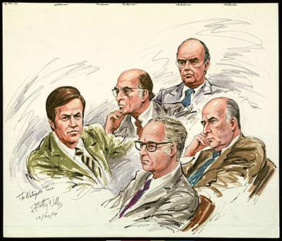 Участники и жертвы скандала: Боб Холдеман, Джон Мардиан, Кеннет Паркинсон, Джон Эхрличман, Джон Митчелл, 30 декабря 1974.Рисунок Бетти Веллса