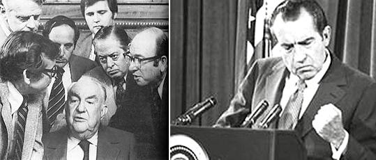 Слева заседание сенатской комиссии по рассмотрению уотергейского скандала. Справа президент Ричард Никсон