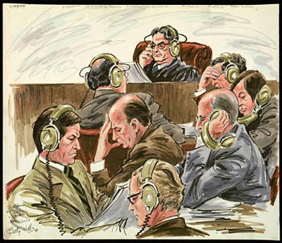 20 ноября 1974 года представители защиты  слушают в суде магнитофонные записи Никсона. Рисунок Бетти Веллс