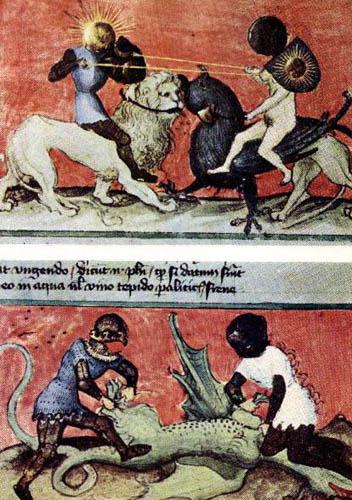 Поединок серы и ртути, Солнца и Луны, мужского и женского (сидят, соответственно, на льве и единороге). Внизу Солнце и Луна снимают шкуру с еще совсем зеленого, не созревшего дракона. Здесь сера и ртуть выступают не как антиподы, а скорее как брат и сестра. Рисунок из латинской рукописи 14-го века