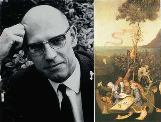 Слева Мишель Фуко, справа картина Иеронима Босха Корабль дураков