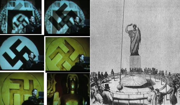 Слева начальные кадры фильма Код да Винчи. Американский ученый объясняет парижанам, что такое свастика. Справа парижане наблюдают Маятник Фуко на фоне Статуи свободы