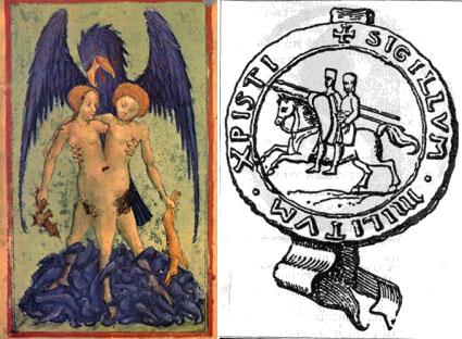 Слева алхимическое сопряжение. Справа печать ордена тамплиеров