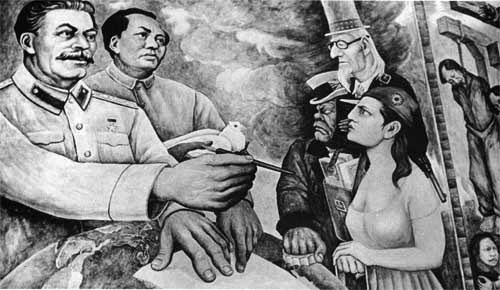 Товарищи Сталин и Мао перед Англией, Францией и Соединенными Штатами. Фреска Диего Риверы