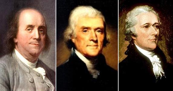 Слева направо: Бенджамин Франклин, Томас Джефферсон, Александр Гамильтон