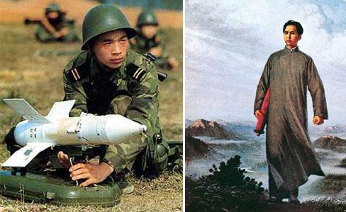 Сила китайского оружия. Слева солдат Китайской Народной Армии. Справа Мао в молодости со свитком