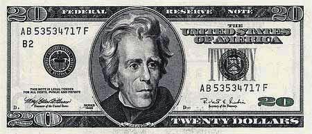 Президент Эндрю Джексон на двадцатидолларовой банкноте