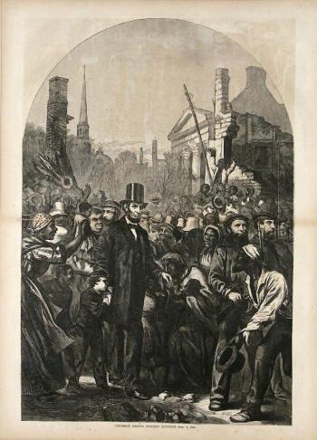 Авраам Линкольн среди народа. Вообще-то он тоже был рабовладельцем