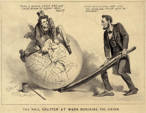Андрю Джонсон сидит на глобусе и пытается сшить штаты Америки: сейчас еще чуть-чуть. Авраам Линкольн поддерживает глобус рельсиной: еще несколько стежков Энди, и добрый старый союз будет восстановлен. Каррикатура 1865 года