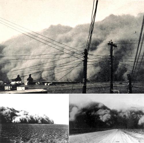 С периодом Великой депрессии совпало странное природное явление: в США наблюдались мощные и частые пылевые бури. Эти катаклизмы, начавшиеся в 1930 году и продолжившиеся до 1936-го (а кое-где дольше), называют то Пыльным котлом (Dust Bowl), то Грязными тридцатыми. Удовлетворительного научного объяснения этому странному явлению нет (хотя, вот одно из них http://www.news.mylove.az/technology/More-prolilo-svet-na-uzhasnuju-zasuhu-Pylnogo-kotla/). Остается предполагать, что Осьминог поработал не только с экономикой Америки, но и с ее экологией
