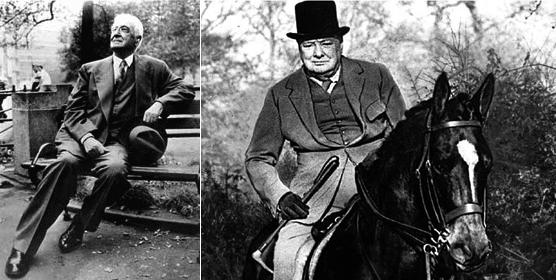 Слева Бернард Барух, справа Уинстон Черчилль