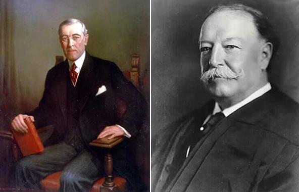 Справа президент Уильям Говард Тафт слева президент Вудро Вильсон