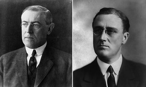 Слева Вудро Вильсон, справа Франклин Делано Рузвельт