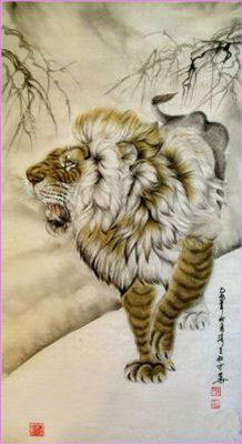 Тигр. Красивая китайская картинка