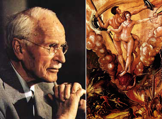 Слева Карл Юнг. Справа Вотан и его свита