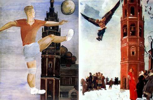 Картины Дейнеки. Справа: Футболист (1932), слева: Никитка – первый русский летун (1942). Интересно, что на обеих картинах изображена одна и та же колокольня
