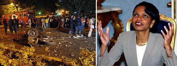 Слева Мумбаи после атаки, справа Кондолиза Райс празднует Рамадан