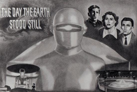 День, когда Земля остановилась. Афиша фильма 1951 года. Там это название означало, в частности, остановку начавшейся гонки ядерных вооружений. После поражения Советского Союза в холодной войне, смысл кино и его названия изменился