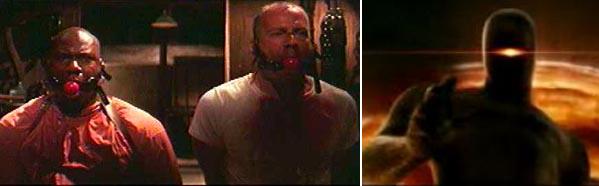 Слева кадр из фильма Криминальное чтиво. Справа кадр из фильма День, когда Земля остановилась. Робот