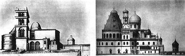 Слева Храм Гроба Господня в Иерусалиме, справа Воскресенский собор в Новом Иерусалиме