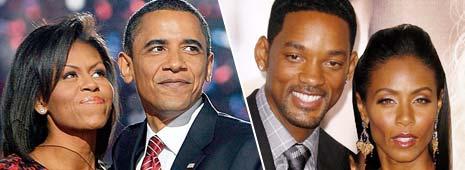 Слева президент Барак Обама с женой, справа актер Уилл Смит с женой, родители Джейдена Смита, сыгравшего негритенка Джейкоба