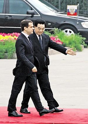 Председатель КНР Ху Цзиньтао и президент РФ Дмитрий Медведев