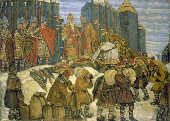 Собирают дань. Картина Николая Рериха