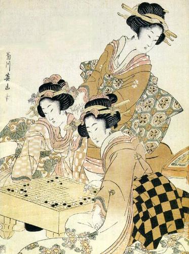 Три женщины играют в го. Японская гравюра