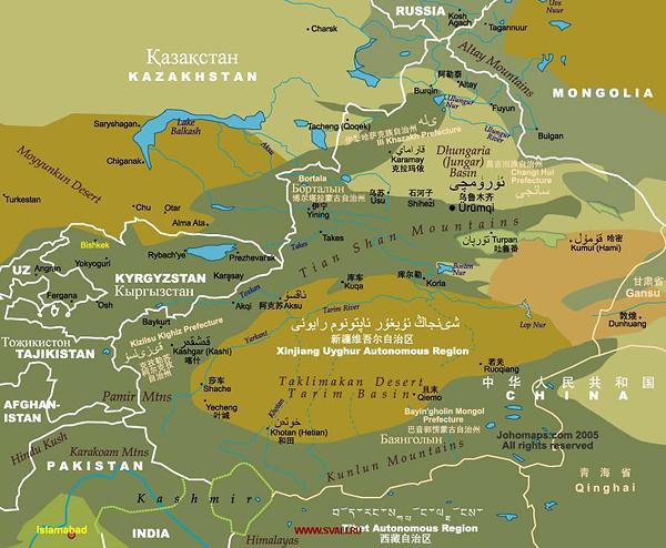 Карта Синьцзян-Уйгурского автономного района Китая с прилегающими странами и территориями