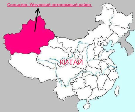 Положение Синьцзян-Уйгурского автономного района на карте КНР