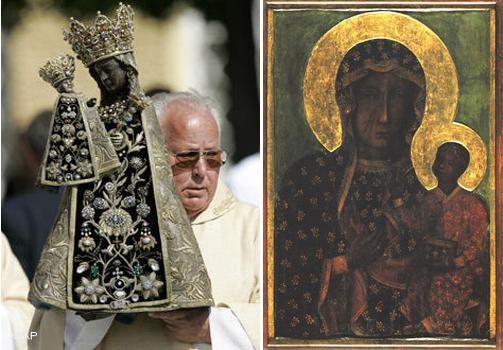 Черные Мадонны. Слева - Мадонна из Баварского городка Альтёттинга. Справа - Матка Бозка Ченстоховска, самая почитаемая польская икона