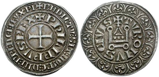 Французская монета времен Филиппа IV