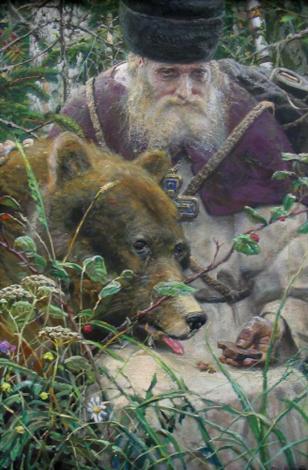Сергий Радонежский с медведем. Современный художник Рыженко нарисовал весьма актуальную картину