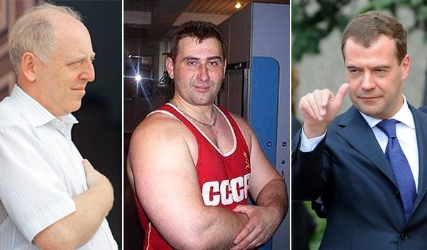 Слева направо Александр Погорельский, Максим Калашников, Дмитрий Медведев