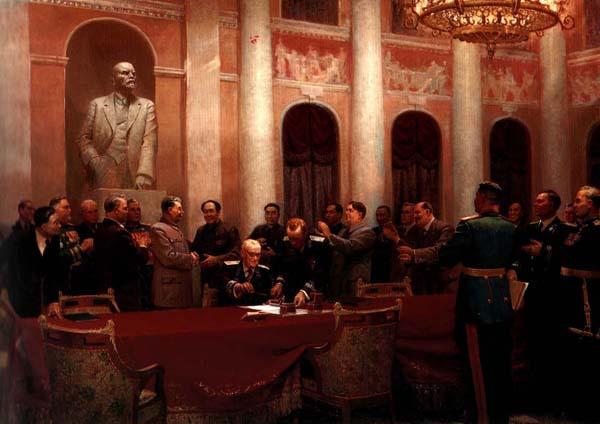 Картина Во имя мира (Подписание договора между Советским Союзом и Китайской Народной Республикой). Вихтинский В.И. и другие. 1950 год