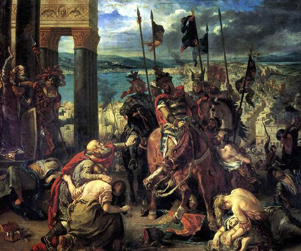 Взятие Константинополя крестоносцами. Картина Делакруа. 1840