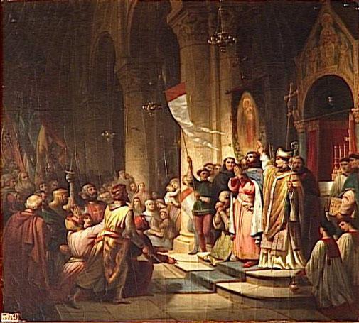 Маркиз Бонифаций выбран лидером Четвертого похода. Суассон, 1201 год. Историческая картина Henri Decaisne, начало 1840 гг., Залы Крестовых походов, Версаль. Бонифаций Монферратский был убит в битве с болгарами (4 сентября 1207 года) в южной части Родопы. Его голова была отрезана и послана к царю Калояну в Тырново