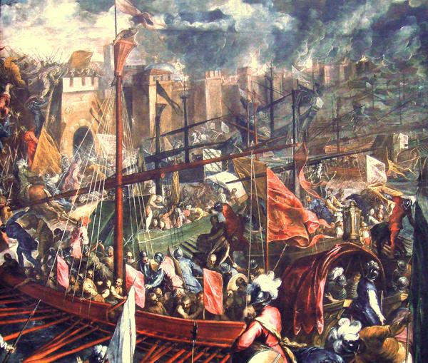 Штурм Константинополя. Это уже второй штурм, 13 апреля 1204 года, когда город был взят и разграблен. В том же году была основана Латинская империя со столицей в Константинополе