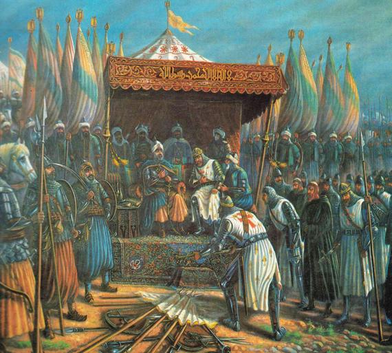 Саладин и Ги де Лузиньян после битвы при Хаттине. 4 июля 1187 года Саладин (Салах ад-Дин) разбил крестоносцев в битве при Хаттине, король Иерусалимского королевства Ги де Лузиньян, грандмастер тамплиеров Жерар де Ридфор и многие другие руководители крестоносцев попали в плен. За этот год Салах ад-Дину удалось овладеть большей частью Палестины, Акрой и, после длительной осады, Иерусалимом. Жителям были дарованы жизнь и возможность выкупить свою свободу, кроме того, Саладин гарантировал привилегии и неприкосновенность христианских паломников, посещающих Иерусалим. Салах ад-Дин — персонаж «Божественной комедии» Данте, где показан как праведник-нехристианин, находящийся в Лимбе, первом круге Ада